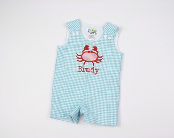 Crab Outfit - Baby Beach  - Nautical Romper - Beach Romper - Baby Boy Jon Jon - Toddler Boy Jon Jon - Baby Boy Clothes - Boys Gingham Outfit