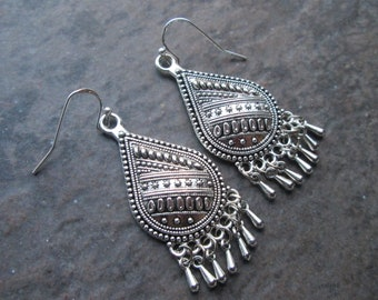 Silver Filigree chandelier earrings with sterling silver earwires and teardrop shape Boho dangle earrings Gift for Her FREE SHIPPING