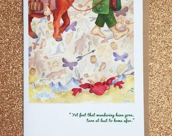 """HOBBIT """"wieder zurück."""" Bilbo Beutlin Feen Märchen Füße Grußkarte Tolkien Mittelerde Buch Karte leere mit Hobbit Zitat Gandalf Halthegal"""
