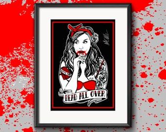 Signed 'Vampire Pin-Up Girl' Illustration Print A4