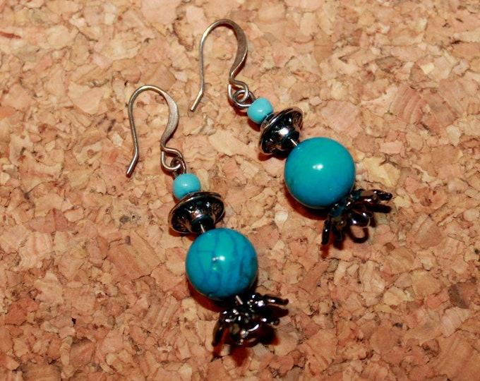 Turquoise Earrings, Dangle Earrings, Hook Earrings, Bell Art Designs 65