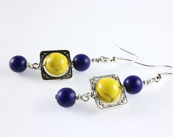 Blue and Gold Dangle Earrings, School Colors, Magnesite