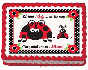 Red Ladybug Edible 1st Birthday Baby Shower Party Cake ...
