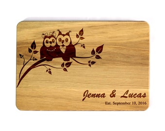 Personalized Cutting Board Owls Wedding gift for couple Wedding owls Bridal Shower Gift Custom cutting board Wedding Gift Engraved Board
