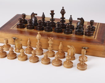 Old Wooden Chess Set Large
