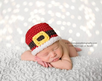 Baby Santa Hat, Newborn Santa Hat, Baby Christmas Hat, Baby Girl Hat, Baby Boy Hat, Knit Christmas Hat, Newborn Christmas Outfit, 0-3, 3-6