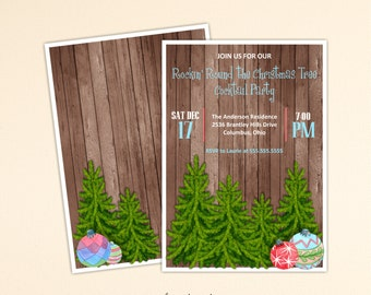Christmas Party Invitation, Holiday Party, Christmas Tree Trimming Party, Cocktail Party, Open House, Holiday Birthday Party, C10156