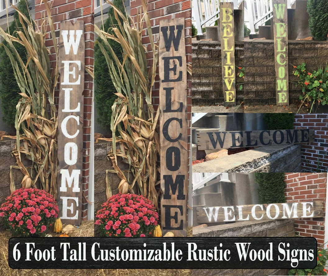 Wooden outdoor welcome sign, Rustic wooden welcome sign ...