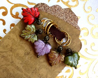 5 KNITTING Stitch Markers - Autumn Leaves Markers - Fall Season Czech Glass Leaf Markers - Seasonal Dangling Marker Knitting Accessories