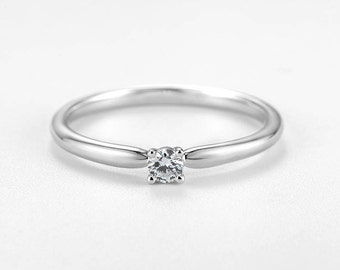 Minimalist engagement ring white gold Simple Solitaire engagement ring Dainty wedding women Delicate Petite Stacking Promise Anniversary
