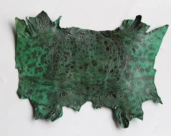 Genuine Toad leather skin frog lining smooth leather Irish Green