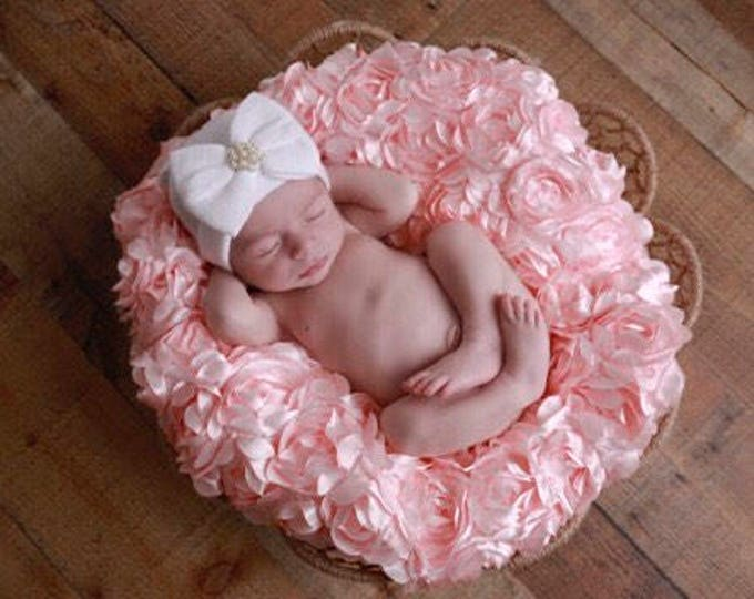 Newborn Hospital Hat, with a pearl with a silver rhinestone button, baby hat, from Lil Miss Sweet Pea Boutique