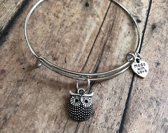 Owl charm bangle, owl jewelry, owl lover, owl gift, gift for her, birthday gift for her