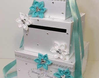 Wedding  Card Box Blue and White Gift Card Box Money Box Holder.-Special Custom order.Customize your color