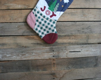 "Vintage Country Themed ""Joy"" Christmas Stocking"