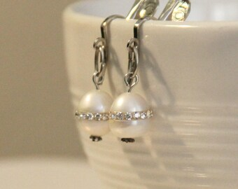 Rhinestoned Pearl Earrings