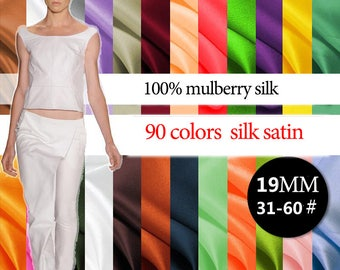 19mm 114cm width 90 colors 100% mulberry silk satin / charmeuse by half meter (31-60#) DF996