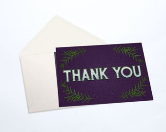 Thank You Notecard Stationery Set | Embroidery Stitch Effect, Violet, Green, and White
