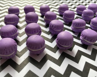 8pc. Purple Miniature Macaroons, polymer clay, So Kawaii!