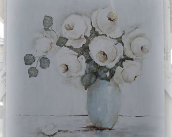 Large Vintage style Original Shabby Style Rose Painting on Board