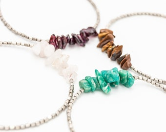 Gemstone Chip Bracelets, choose your gemstone, rose quartz, tiger eye, amazonite, garnet, healing crystals