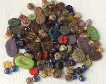 Loose Czech Glass Beads, Picasso Bead Mix - Delux Chunky assortment, Grab Bag 30 Gram Assortment