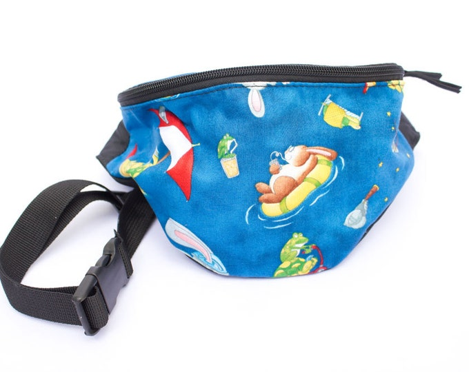 Fanny pack Rabbit Play - Cute  - Waist Hip Bag for travel, sport, and hiking