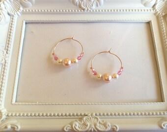Pearl swarovski beads hoop earrings