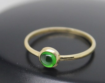 Chrome Diopside Ring, 18k Gold Ring, Barely There Ring, Green Stone Ring, Stacking Ring, Stackable Ring, Thin Ring, Solid Gold Ring