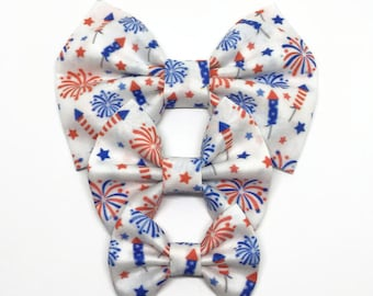 Fireworks Bow - 4th of July Bow - Fireworks Hair Bow - Fireworks Headband - Summer Baby Headband - Red white blue bow - July 4th Bow
