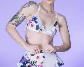 NOUGAT soft cup bra - frilly bralette in your choice of floral and tile print scuba jersey fabrics, ethical lingerie handmade to order