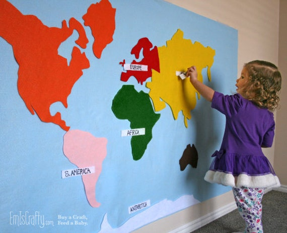 Montessori felt map of world continents spanish french gumiabroncs Choice Image