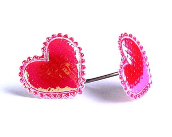 Red garnet shiny iridescent heart fabric hypoallergenic stud earrings READY to ship (354)