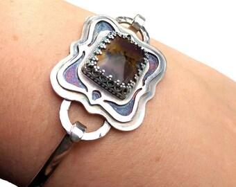 Amethyst Sage Agate Bracelet - Handmade Bangle Bracelet - Gemstone Silver Cuff - Modern Sterling Silver Bracelet - Statement Bracelet - B005
