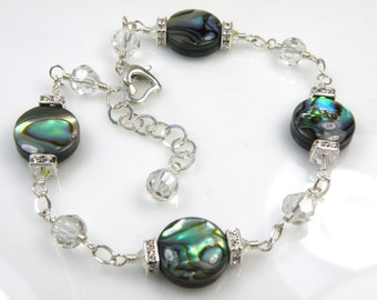 Abalone Bracelet, Teal Shell Jewelry, Paua Shell, Sterling Silver, Wire Wrapped, Beach Jewelry, Handmade, June Birthday, Ready To Ship
