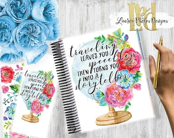 Planner Cover, Laminated 10mil, for use with, Erin Condren , Happy Planner, Summer   Watercolor   Floral   TRAVEL