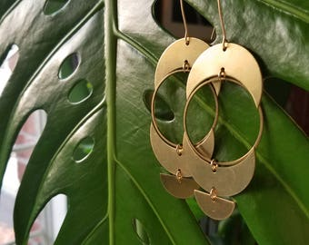 Pregnant Moon Earrings // Raw Brass / Crescent Moon / Statement Earring / Boho / Large Earrings / Goddess / Eclipse / Hoop Earrings