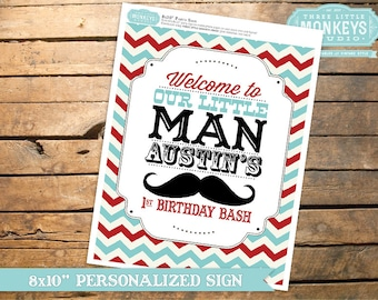 Personalized Little Man Mustache Party Sign