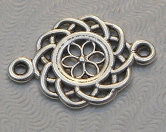 LuxeOrnaments Antique Silver-plated Brass Filigree European Cast 2 sided Connector 21x14mm (1pc) B-15539-S