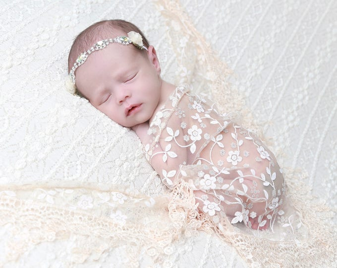 Lace Fringe Wrap in Beige AND/OR Organza Flower and Rhinestone Flower headband, newborn photo shoots, wrap set, Lil Miss Sweet