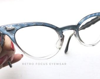 50's NOS Made in USA Graceline Cyan Ice Navy Blue Fade Cat Eye Eyewear Eyeglass Frames Iced Pale Clear Pastel Eyeglasses Petite Sma