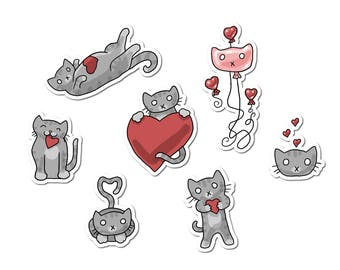 Cat Stickers, Valentine's Day Stickers, Paper Stickers, Journaling, Sticker Flakes, Stationery, Scrapbooking, Heart Stickers, Cute Cats