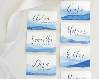 Custom Calligraphy Place Cards - with deckled edge & gradient watercolor wash - Modern Calligraphy
