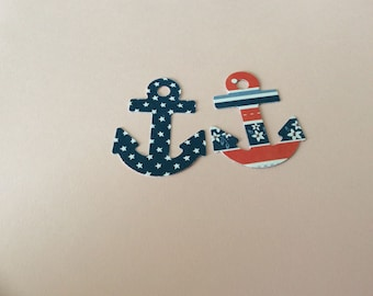 Red White and Blue ANCHORS  24 pcs  2 inches in size Hand Punched die cuts, PATRIOTIC