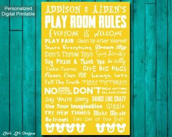 Playroom Rules Sign. Playroom Decor. Playroom Wall Art. Playroom Sign. Kids Playroom Art. Childrens Wall Art. Kids Room Decor. Family Rules.