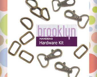 Hardware Kit for May Bag of the Month Club, Antique Brass Finish, Swoon Brooklyn Handbag Pattern, KIT-AA001