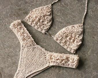 Luxurious Crochet bikini in cream, Brazilian bikini, Cheeky bikini, Gift for her, Crochet bikini set, Crochet bikini top, Ruffle bikini