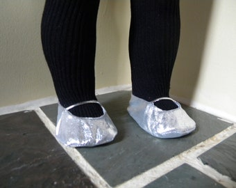 Silver ballet flats for 18 inch doll
