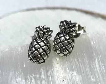 Tiny Pineapple stud earrings. Sterling silver pineapple studs. Fruit earrings. Tropical earrings. Tween stud earrings. Pineapple gift