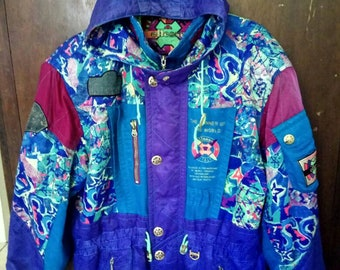 Sale!!! Rare Vintage 90s Ellesse Jacket/ Ski Jacket/ Abstracts/ Multicolour Embroidery With ELLESSE WORD on back....Made in Japan